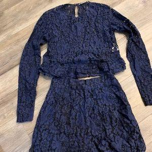 ZARA Lace Crop Top High Waisted Shorts SET XS